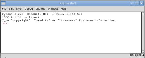 Python in the applications menu